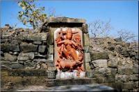 along the fort wall you will see this statue of Durga killing a buffalo